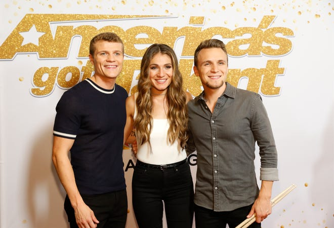 We Three is pictured on America's Got Talent. From left: Manny Humlie, Bethany Blanchard, Joshua Humlie.