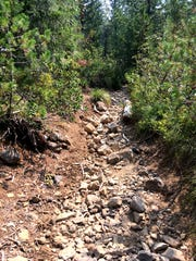 Hikers should be cautious over the loose rocks on South Breitenbush Trail.