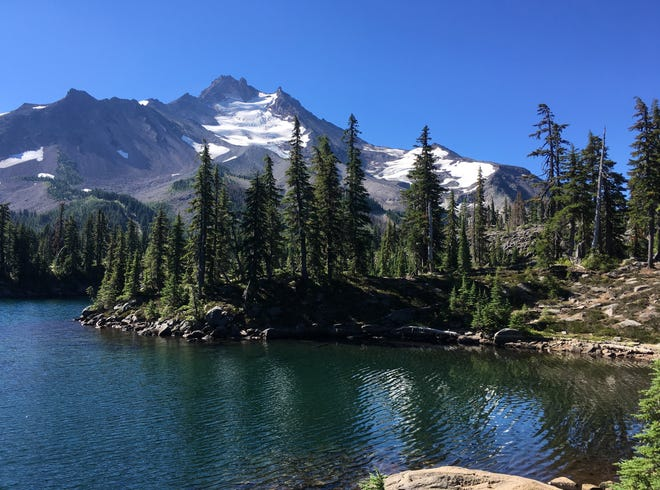 A view of Mt. Jefferson from Bays Lake in Jefferson Park.