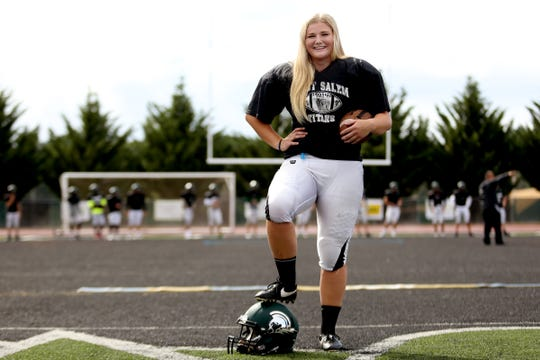 Kyla Gordon, a senior kicker, during a practice with the West Salem football team on Wednesday, Sep. 12, 2018.