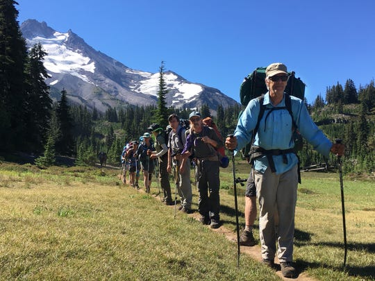 Scott Hovis leads hikers on a Mt. Jefferson backpack trip in 2018.