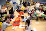 The first day of school of kindergartners at Yoshikai Elementary School in Salem on Wednesday, Sep. 12, 2018.