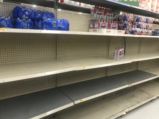 Wal Mart nearly out of water bottles at 5501 Sherwood Way Wednesday, Sep. 12.