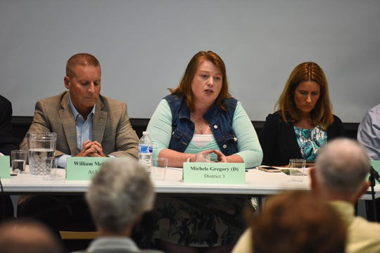 Wicomico County Council candidate Michele Gregory participates in an forum on environmental issues at Salisbury University on Tuesday, Sept. 11.