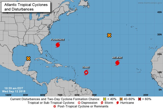 Storms and disturbances being tracked by the National Hurricane Center.