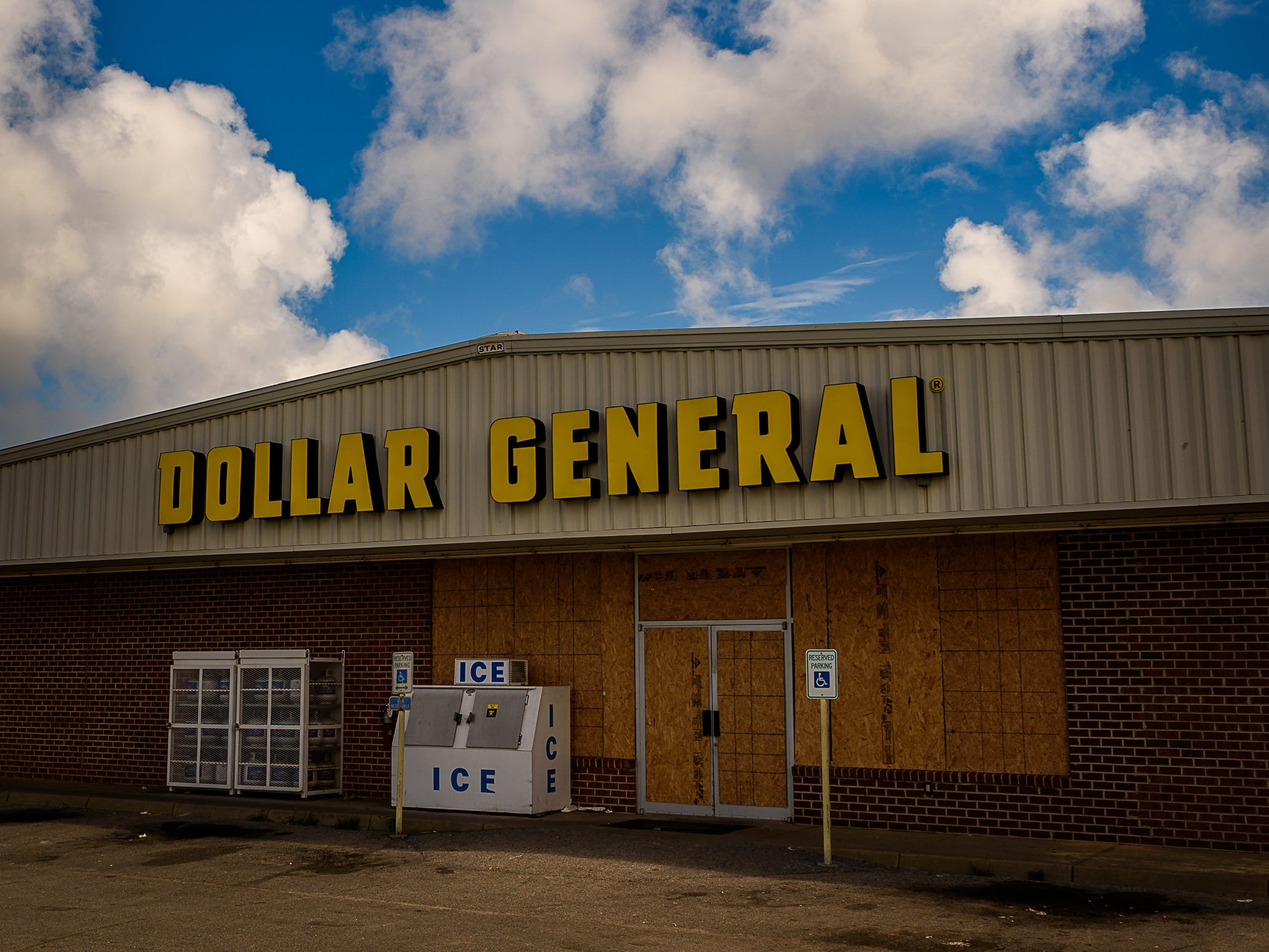 The Dollar General in Cape Charles in Northampton County, Virginia, boarded up in preparation for Hurricane Florence.
