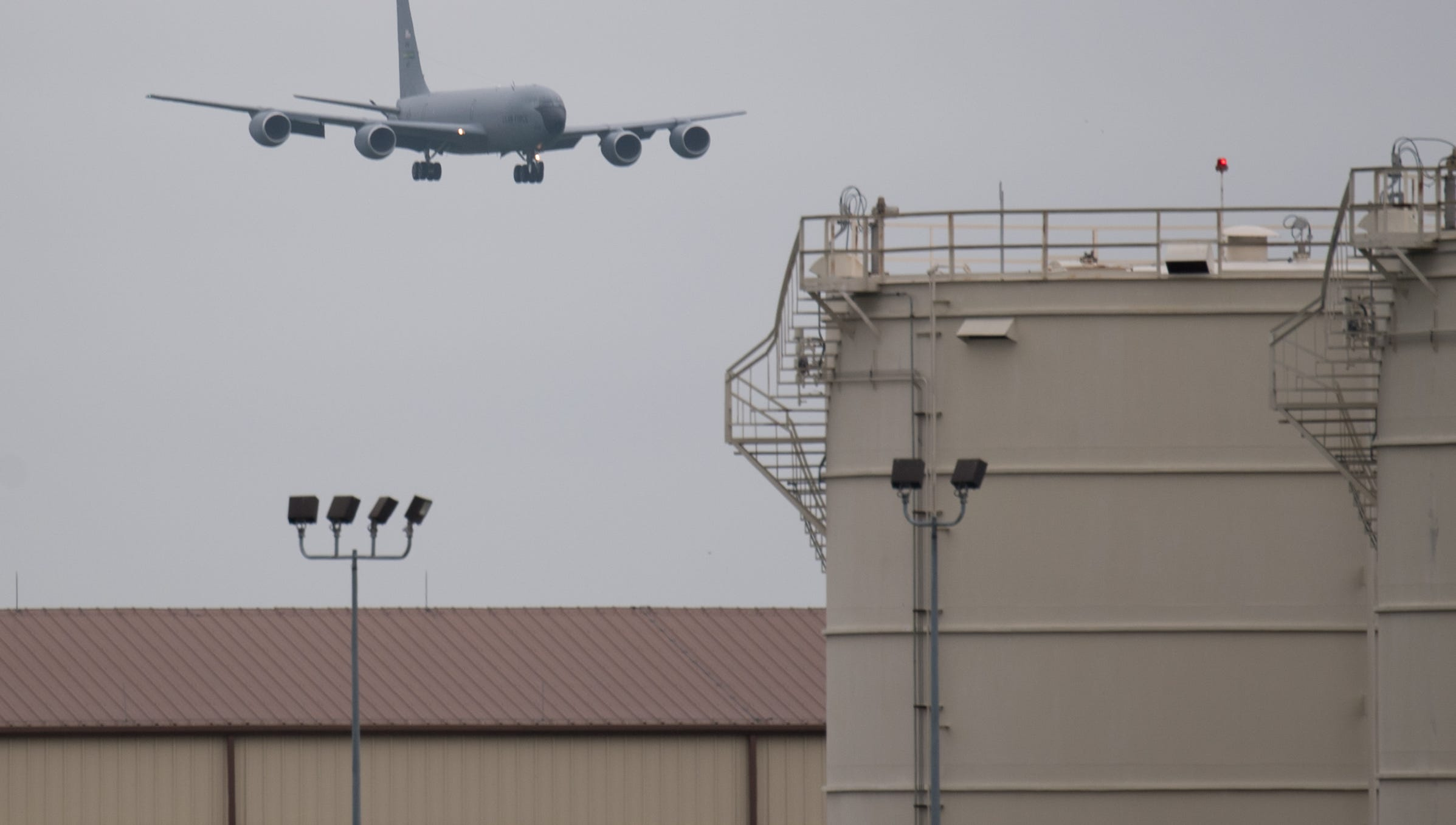 A KC-135 Stratotanker, from Seymour Johnson, North Carolina, arrives at Barksdale Air Force Base, La., Sept. 12, 2018. The aircraft evacuated to Barksdale to avoid possible damage from Hurricane Florence. (U.S. Air Force photo by Senior Airman Stuart Bright)