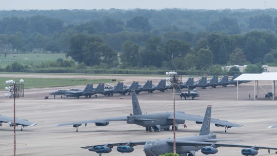 F-15E Striker Eagles, from Seymour Johnson Air Force Base, North Carolina, arrives on the flight line at Barksdale Air Force Base, La., Sept. 12, 2018. The aircraft evacuated to Barksdale as a proactive measure to prevent possible damage from Hurrican Florence. (U.S. Air Force photo by Airman 1st Class Lillian Miller)
