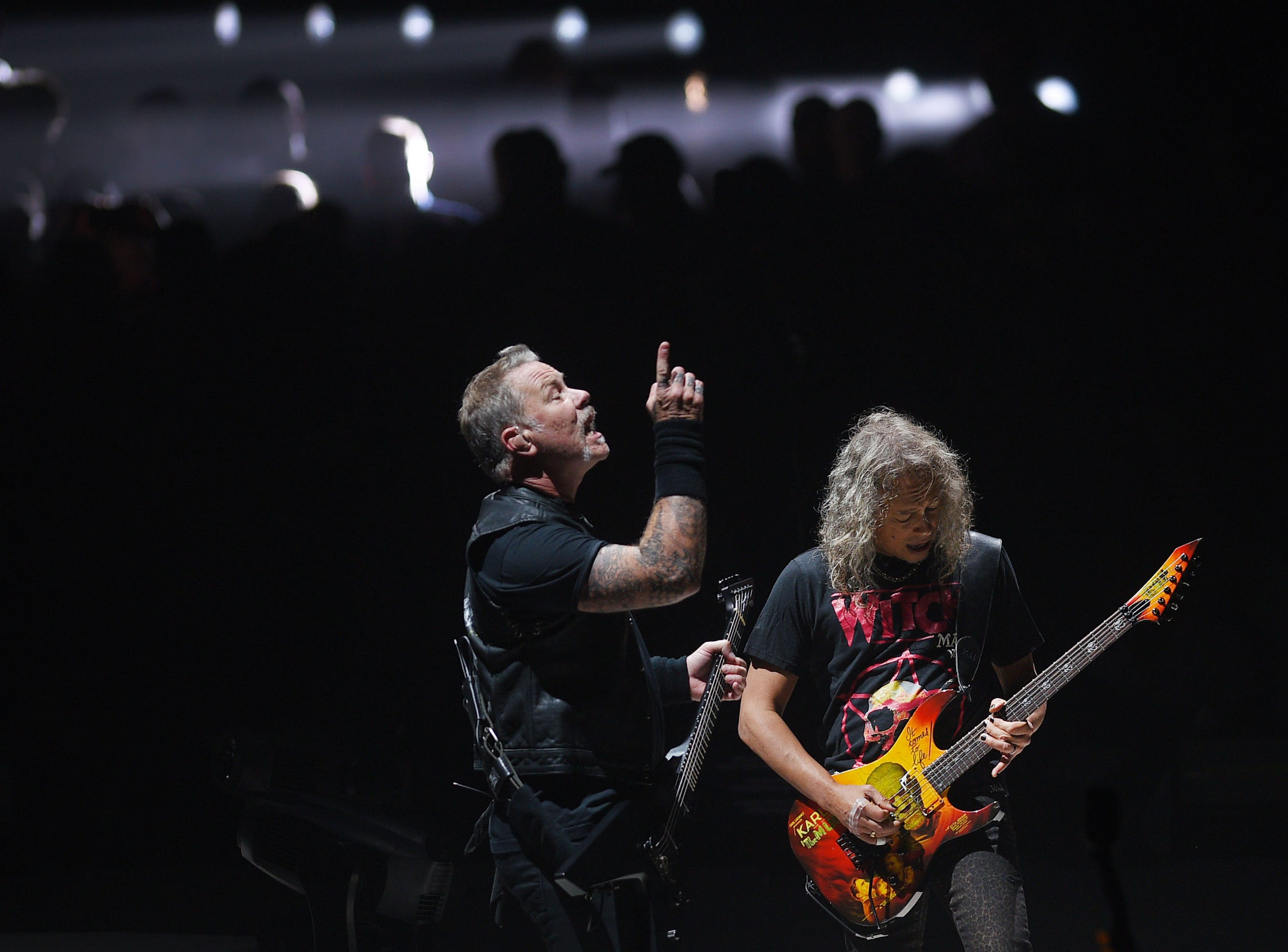 Metallica's James Hetfield and Kirk Hammett perform with the band Tuesday, Sept. 11, at the Denny Sanford Premier Center in Sioux Falls.