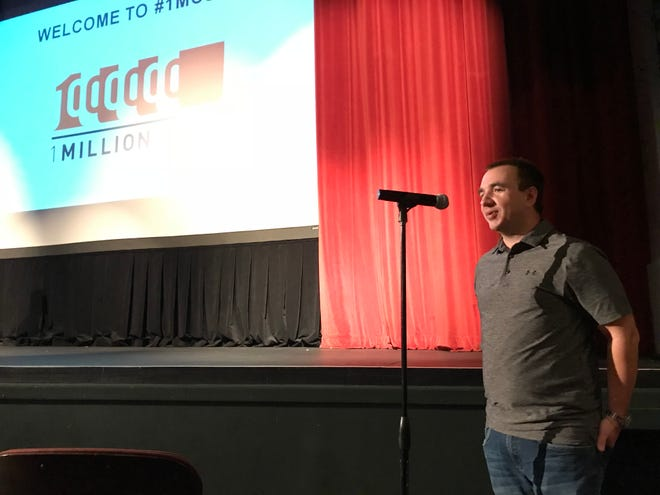 Marketbeat CEO and Falls Angel Fund Chairman Matt Paulson speaks at 1 Million Cups on Sept. 12 at the Orpheum Theater.