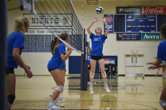 O'Gorman volleyball player Bergen Reilly practices with the team Tuesday, Sept. 11, after school at the high school gym in Sioux Falls.
