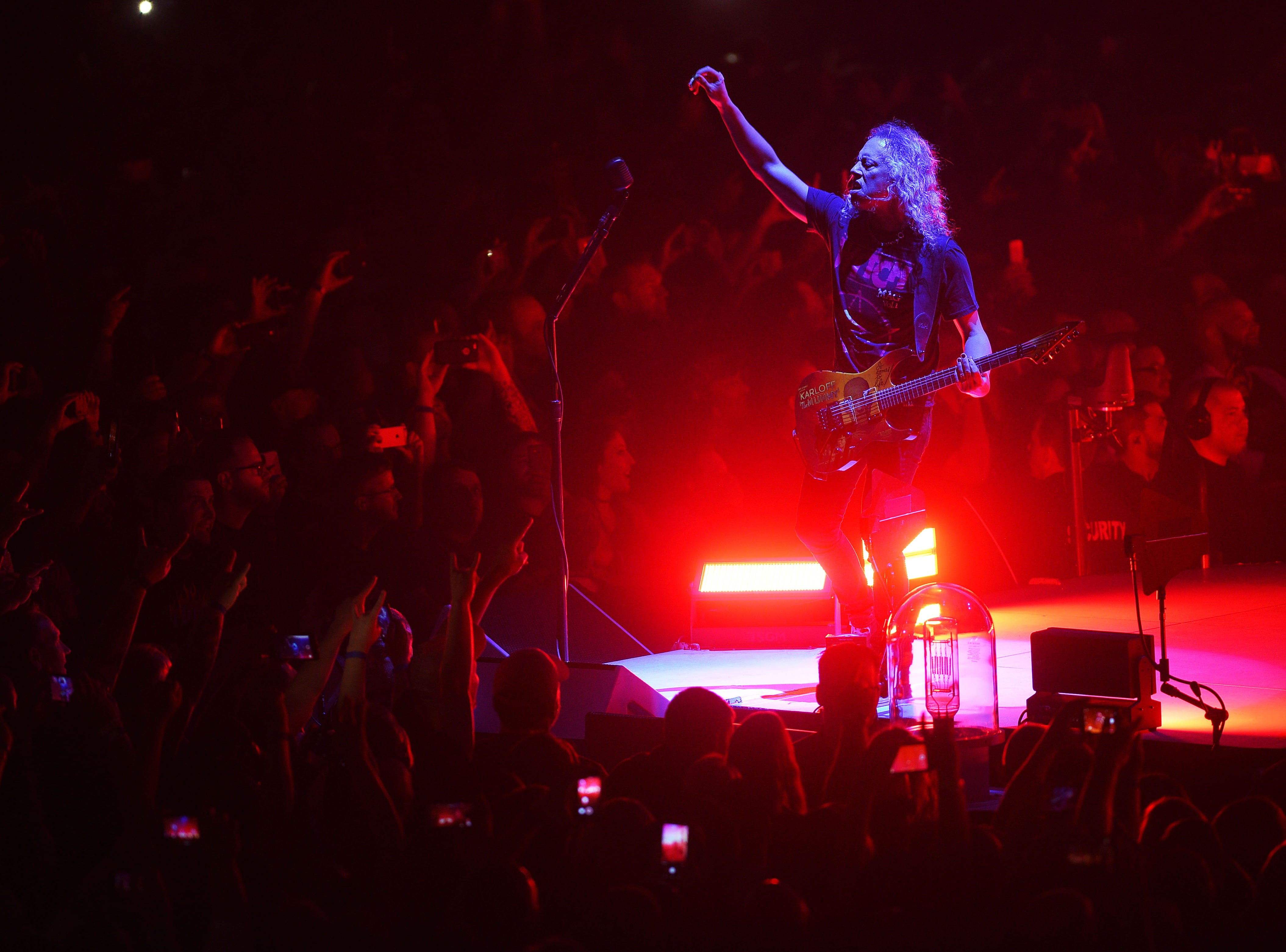 Metallica's Kirk Hammett performs with the band Tuesday, Sept. 11, at the Denny Sanford Premier Center in Sioux Falls.