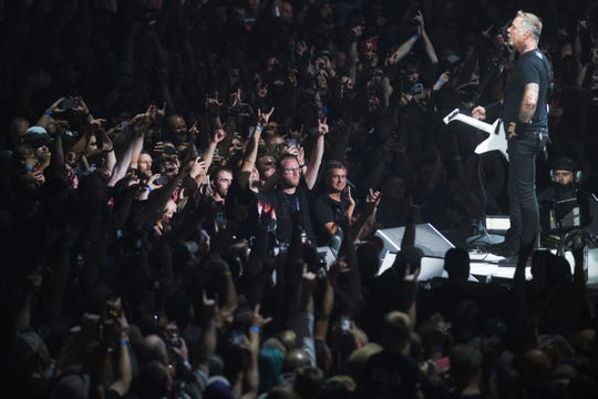 Metallica's James Hetfield performs with the band Tuesday, Sept. 11, at the Denny Sanford Premier Center in Sioux Falls.