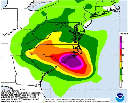 Hurricane Florence rainfall forecast 5 am Sept 12