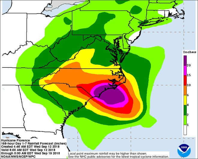 Hurricane Florence rainfall forecast as of 5 a.m. Sept. 12.