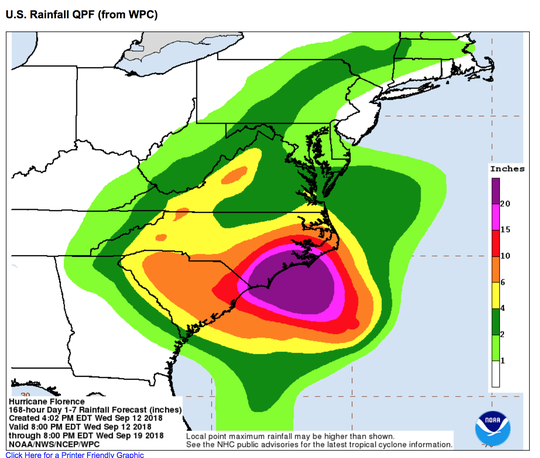 A 4 p.m. report from the National Hurricane Center puts the Shenandoah Valley back in a zone expected to receive up to 10 inches of rain.