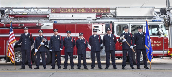 Ceremonial unit members pose for a photograph in June, 2017, at St. Cloud Fire Station 1 in downtown St. Cloud.
