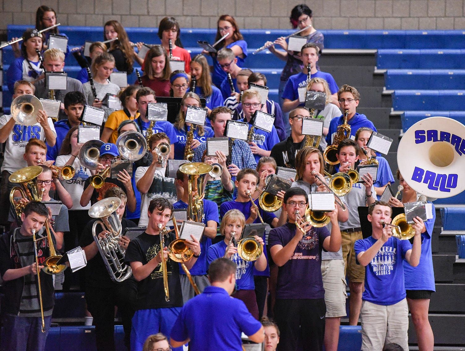 Sartell's pep band plays before the game against Tech and Sartell.