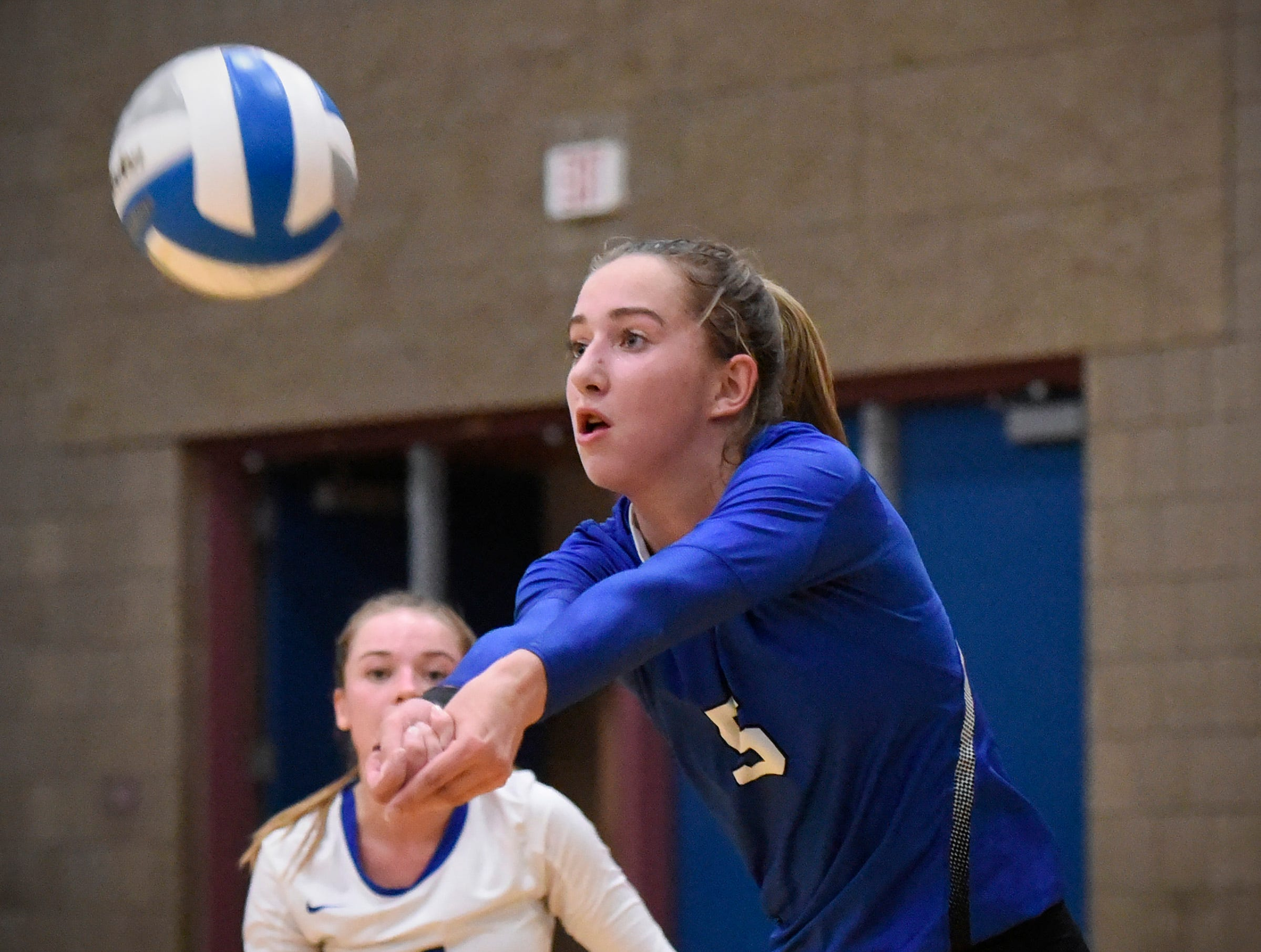 Sartell's Elizabeth Dille bumps the ball up to a teammate against Tech during the first game.