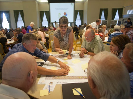 St. George residents and city planners meet to discuss the future plans for the area Tuesday, Sept. 11, 2018.