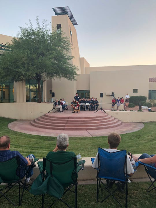 Mesquite Fire Chief Jayson Andrus addresses the crowd at the 9/11 Remembrance Ceremony at Mesquite City Hall