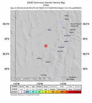 A magnitude 3.8 earthquake was measured late Tuesday in the Sevier Desert north of Beaver.