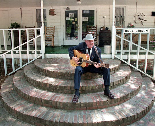 Singer Hoot Gibson plays his guitar at his spot at Nicholson's Farmhouse Restaurant in 2005. He was a sprightly man then in his early 80s.