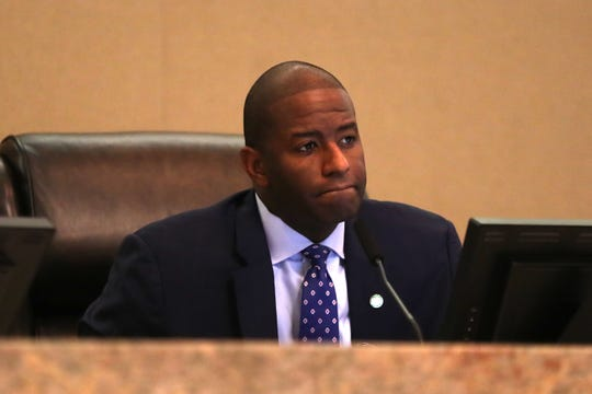 Mayor Andrew Gillum at the Community Redevelopment Agency meeting at City Hall on September 12, 2018.