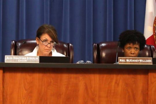 Leon County School Board Vice Chair, Alva Swafford Stirplin and School Board Attorney, Opal McKinney-Williams at the Leon County School Board meeting on September 11, 2018.