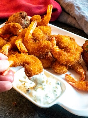 Crispy Crunchy Fried Shrimp with homemade tartar sauce.