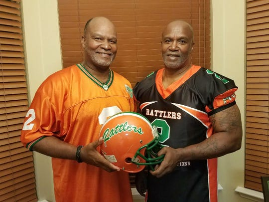 Albert (left) and Clarence Chester are brothers through blood and football. They also are members of FAMU's 1978 national championship team. Albert was the starting quarterback. Clarence was a scout team wide receiver.