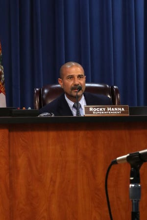 Leon County Superintendent of Schools Rocky Hanna at the Leon County School Board meeting on September 11, 2018.
