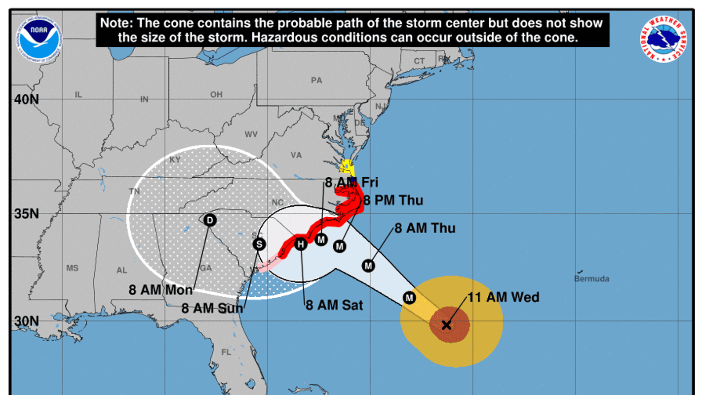 Hurricane Florence Tracking Hurricane Projected Path In Southeast Us - Us-hurricane-landfall-map