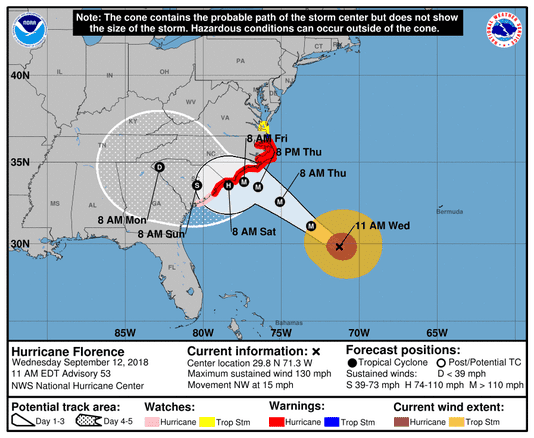Hurricane Florence  A M Sept   Photo Graphic Contributed By National Hurricane Center