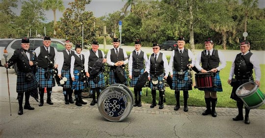 The Vero Beach Pipes & Drums prepare to perform at First Presbyterian Church for its annual Kirkin' O'er the Tartans Scottish Blessing services on April 29.