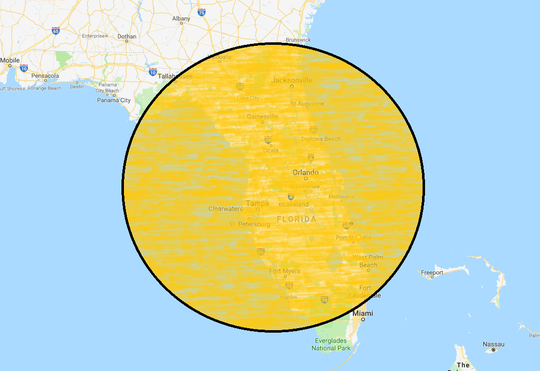 Hurricane Florence's size compared to the state of Florida.