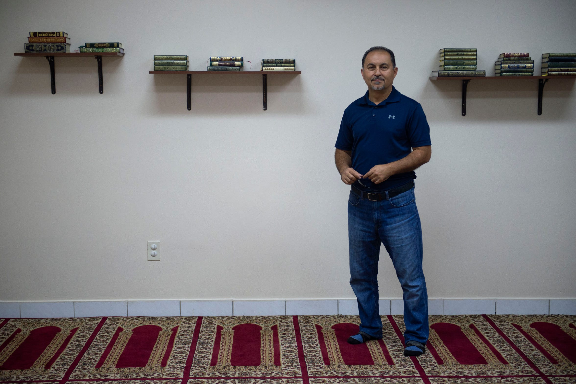 """I grew up in the Middle East, but this is where I'm going to die. This is where my kids are going to grow up. This is where we're making a living. I love this country, and I'm proud to be an American Muslim,"" said Raed Alshaibi, 50, of Indialantic, seen Sept. 9, 2018, at the Islamic Society of Melbourne, where he worships with his family. Alshaibi was born in Palestine, but lived most of his young life in Jordan until he moved to California in 1987, before settling in Florida."
