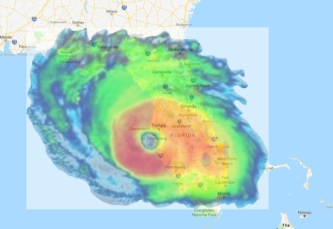 Hurricane Florence in comparison to the state of Florida.