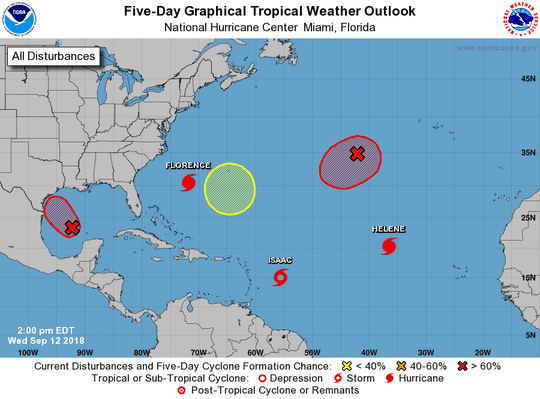 Active Atlantic basin 2 p.m. Sept. 12, 2018