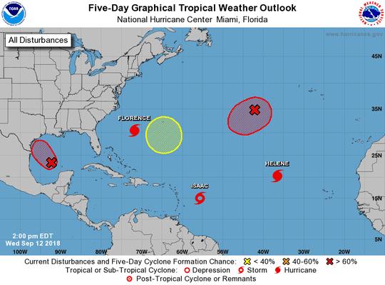 Active Atlantic basin 2 p.m. Sept. 12, 2018
