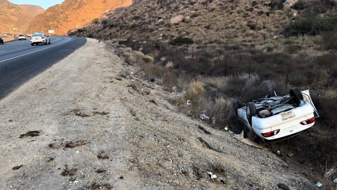 The California Highway Patrol tweeted this photo of the wreck Tuesday evening on the southbound side of the Conejo Grade near the truck weigh station.