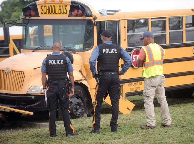 Police were on the scene of a school bus crash at the corner of Main and Chestnut in Vineland on Wednesday, September 12.