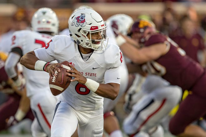 Sep 8, 2018; Minneapolis, MN, USA; Fresno State Bulldogs quarterback Marcus McMaryion (6) drops back for a pass in the first quarter against the Minnesota Golden Gophers at TCF Bank Stadium. Mandatory Credit: Jesse Johnson-USA TODAY Sports