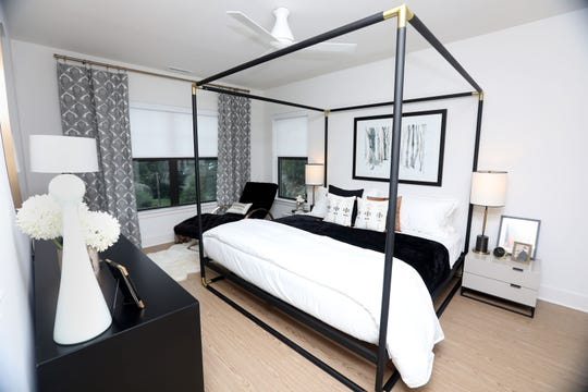 One of the bedrooms at the Fort Hill Apartments at The Abbey Inn in Peekskill Sept. 12, 2018. The mixed-use project, on the site of a former convent, will feature 178 luxury rentals between 3 buildings and a 42-room inn with a spa, event hall and restaurant.
