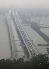 Rockland-bound traffic, left, and eastbound traffic move steadily along the Gov. Mario M. Cuomo Bridge, on Sept. 12, 2018.