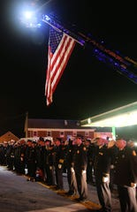 First responders line Fair Street during the annual Putnam Heroes Memorial and Candlelight Vigil at Cornerstone Park on Route 52 and Fair Street in Carmel Sept. 11, 2018.