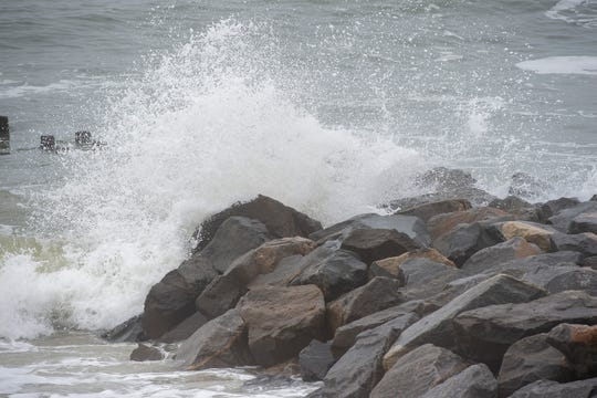Waves hitting the rocks at Herring Point at Cape Henlopen State Park in Lewes.