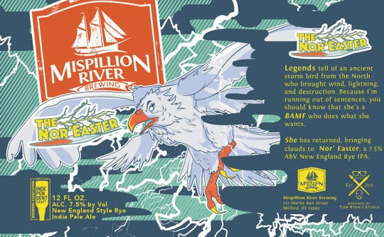 The logo for Mispillion River Brewing's New England-style Rye IPA called The Nor'Easter.
