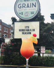 "Newark's Grain Craft Bar + Kitchen is promoting its ""Hurrigrain"" cocktail on  Main Street."