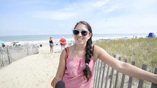 Erin Fulford of Bel Air, Md., had to evacuate from Myrtle Beach and ended up in Rehoboth Beach.